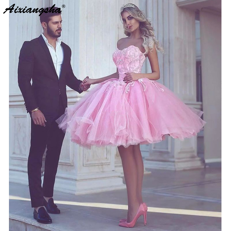 Pink 2018 Homecoming Dresses A-line Sweetheart Knee Length Tulle Lace Beaded Elegant Graduation Cocktail Dresses
