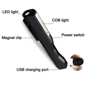Image 2 - Lanterna de led recarregável usb, cob, caneta magnética, luz de trabalho para acampamento, luz noturna tática