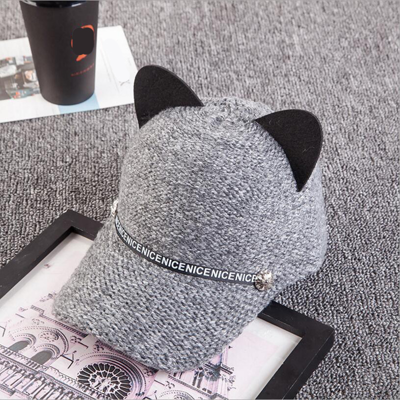 2018 New Fashion personality autumn and winter women's cat ears baseball cap wool knit baseball hat hot cute hat 4