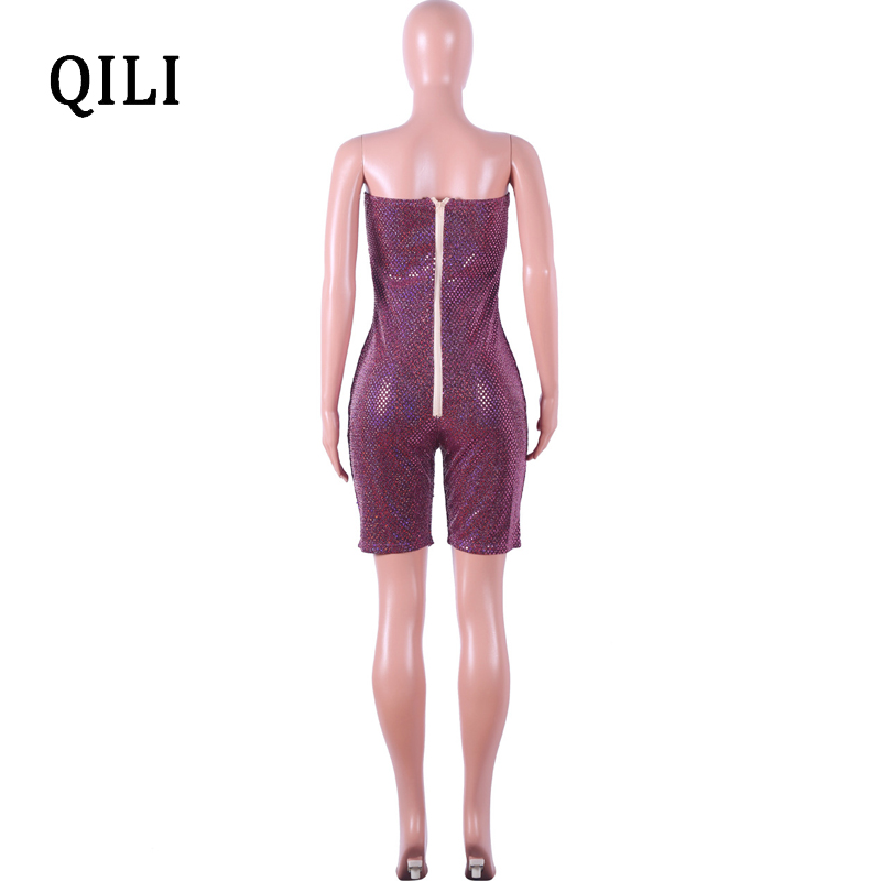 QILI Sexy Sleeveless Sequined Jumpsuit Women Rompers Party Club Zipper Bodycon Romper Sparkle Sequin Playsuits Plus Size in Rompers from Women 39 s Clothing