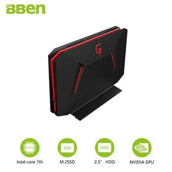 Bben GB01 mini computadora win10 6G GDDR5 tarjeta gráfica GTX1060 intel i7 7700HQ 8G/16G/32G RAM 128G/256G SSD de 1 TB/HDD de 2TB opción
