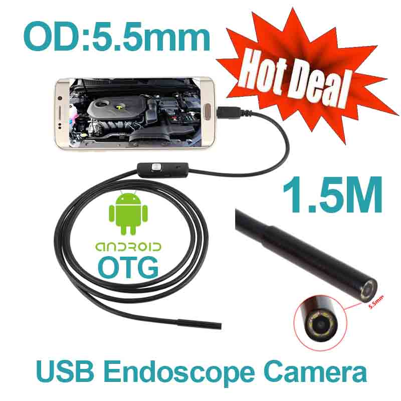 Android Phone OTG USB Camera 5.5mm OD 1.5m Cable Smart Android Phone Endoscope Inspection Snake Tube Borescope 6pcs LED Camera headset bullet usb otg compatible android smartphones digital camera