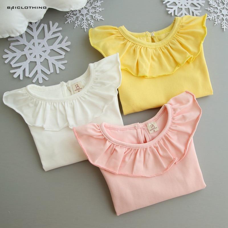 2017 Spring Autumn Baby Girls Long Sleeve White Base Shirt Children Ruffles Tops Blouses Kids 100% Cotton Tees Pink Yellow White