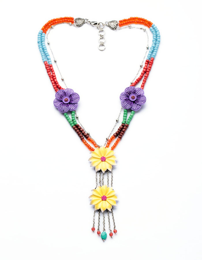 Coloful Flower Pendant Statement Necklaces For Women Colorful Beads Chain Ethnic Fashion Jewelry