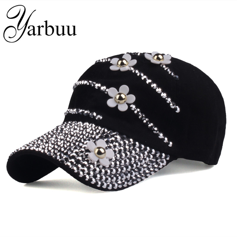 [YARBUU]   Baseball     caps   with flowers 2017 New style women Adjustable sun hat rhinestone denim hat and cotton snapback   cap