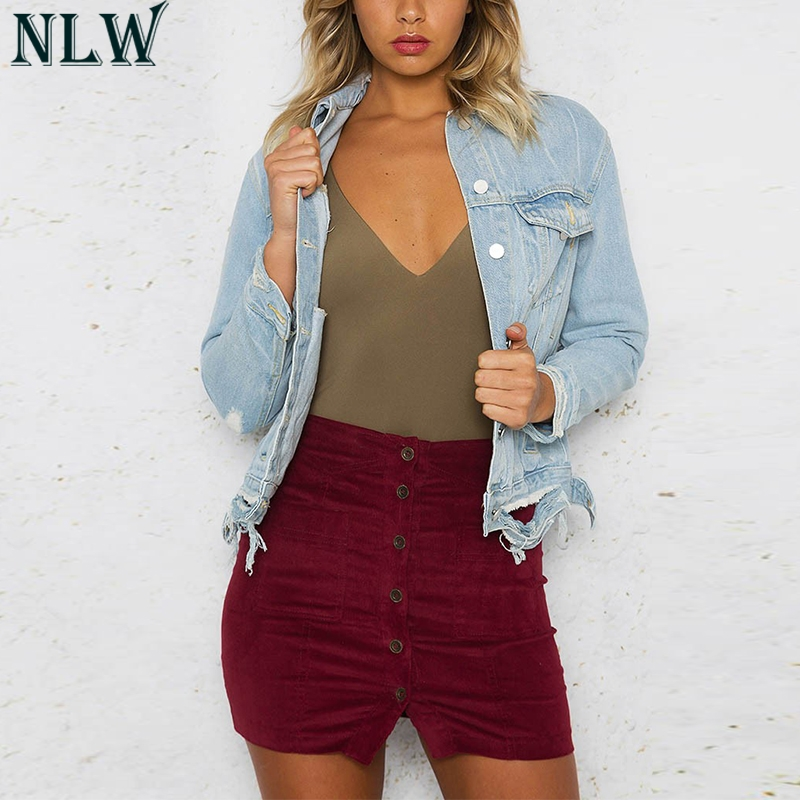 NLW Sky Blue Vintage Ripped Denim   Jacket   Long Sleeve Turn Down Collar Single Breasted Frayed Coat 2018 Women Femme   Basic     Jacket