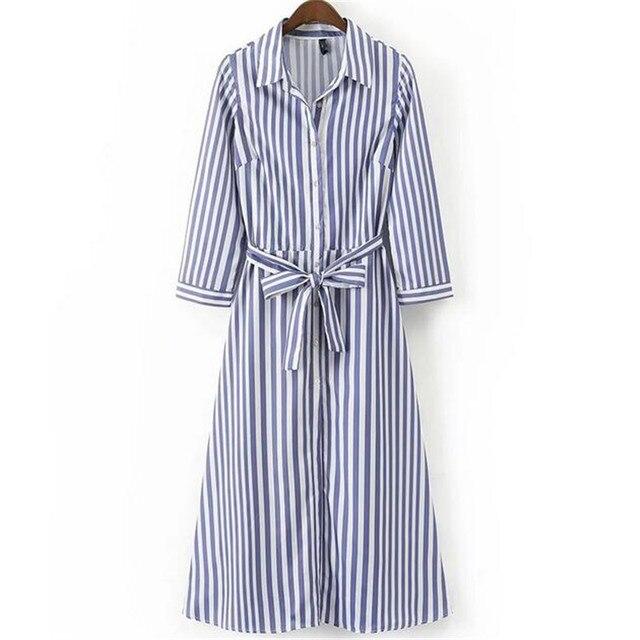 2bf671e902 Larga azul blanco a rayas vestido de las mujeres se visten con los marcos  de las