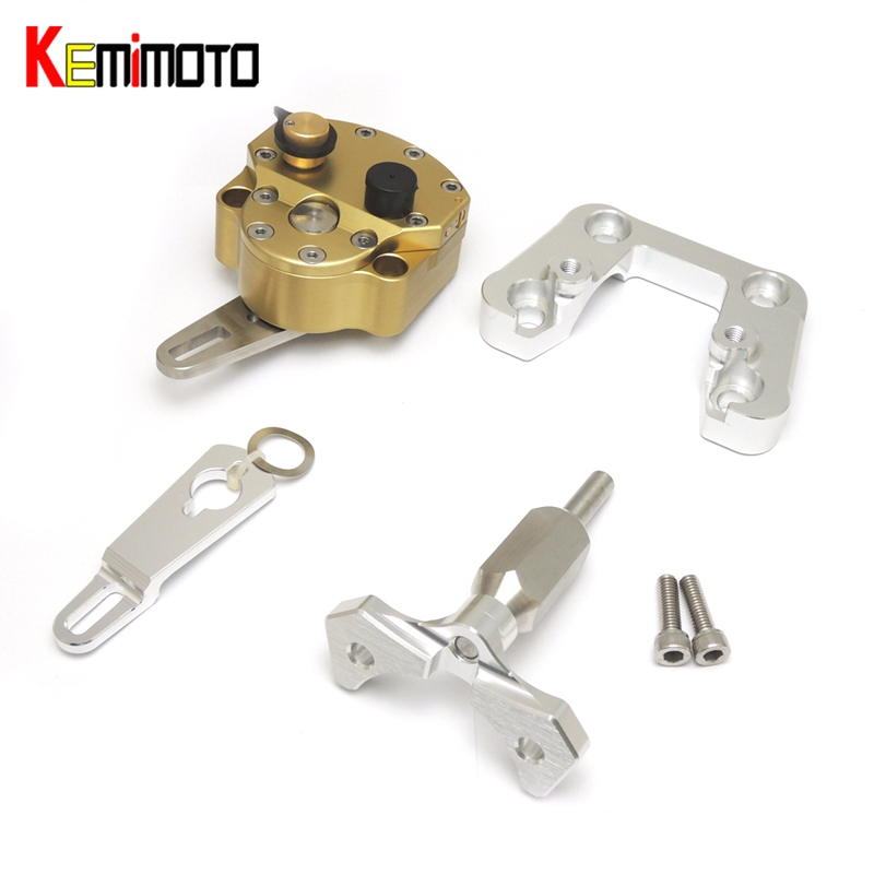 KEMiMOTO For Ducati Monster 796 2011-2015 Motorcycle Accessories Steering Damper with Mounting Bracket Kit Monster 796 2011 2013