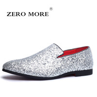 ZERO MORE Glitter Branded Shoes Men Designer Luxury Loafers Men Shoes British Style Silver Gold Mens Shoes Casual Large Sizes