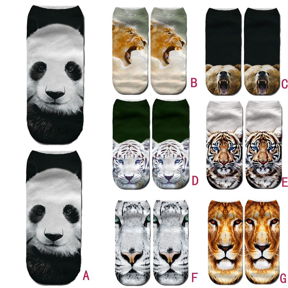Methodical Casual Comfortable Animal Giant Panda Tiger 3d Cute Print Medium Sports Socks Mujer Unisex Calcetines Y50 Underwear & Sleepwears