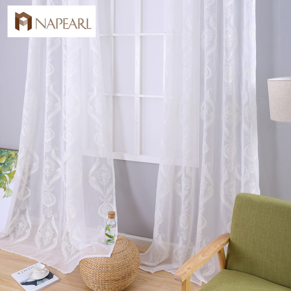 Embroidered Window Sheer White Curtains Fabrics Tulle Curtain Window Luxury European Living Room