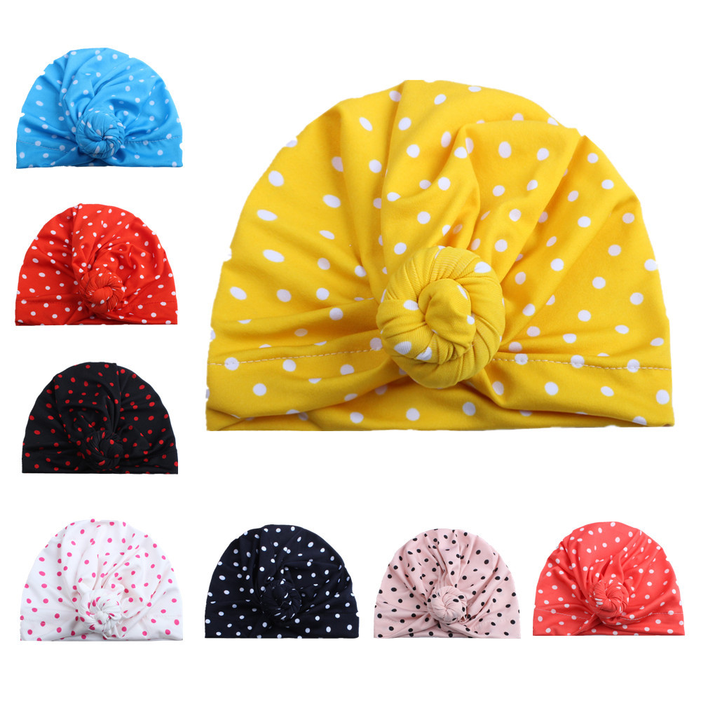 10PCS Newborn Winter Warm Hats India Cap for Kid Turban Hats Dots Knot   Skullies     Beanie   Girl Head Wrap Bohemian Cap