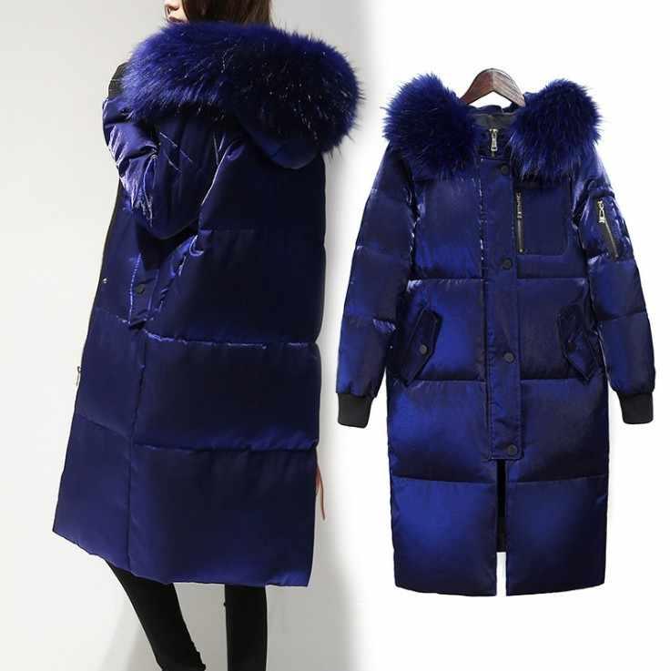 Fitaylor зимняя куртка для женщин белая утка подпушка большой меховой воротник с капюшоном Длинные велюровые мужские парки пальт