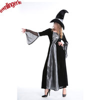All Black Gothic Witch Costume Long Sleeve Cosplay Dress With Hat for Halloween women w1925