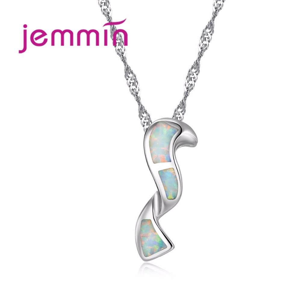 6e9726da9177 Jemmin simplemente estilo blanco ópalo collar 925 plata esterlina collares  colgantes para las mujeres Nueva joyería de moda