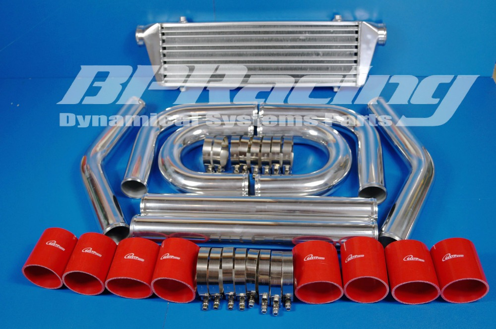 UNIVERSAL 2.5 INCH / THICKNESS 2 MM / HIGH QUALITY ALUMINUM TURBO INTERCOOLER PIPING KIT/ PIPES + INTERCOOLER