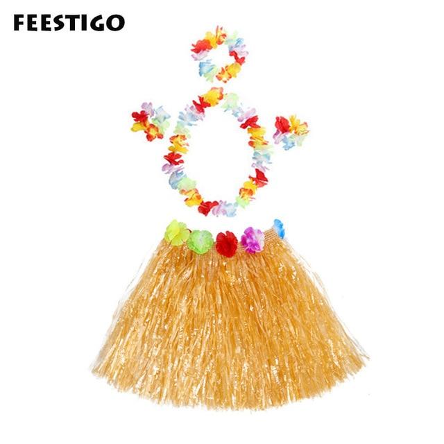 91a2cd537a53 5PCS/Sets Hawaii Hula Dance Skirt Dress Garland Adult Child Wreaths Flowers  Accessories Beach Luaru Party Decorations Supplies