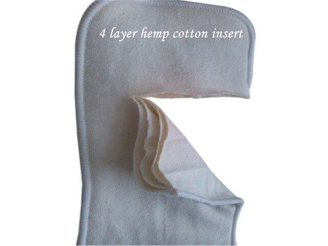 Livraison gratuite 4 couches de coton de chanvre biologique Insert pour nouveau-né bébé couche-culotte en tissu, 55% chanvre, 45% organique 10 pcs/lot 11.5X26 cm