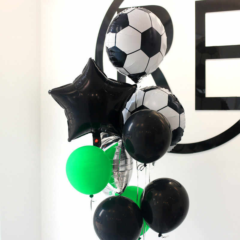 18 pçs 18 polegada bolas de futebol engrossar futebol látex balões festa de aniversário decoração das crianças dos miúdos brinquedos de futebol tema festa