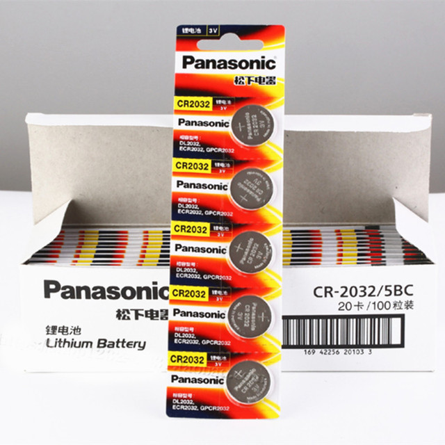 panasonic cr 2032 3v  100pcs original brand new battery for PANASONIC cr2032 3v button ...