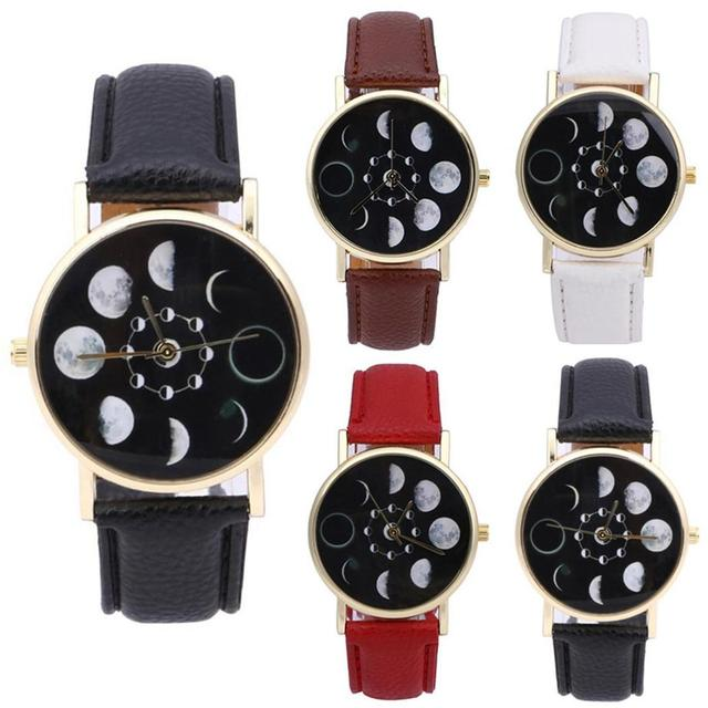 Eclipse Stylish Fashion Women Phase Moon Lunar Watch Change Bracelet Design Cloc