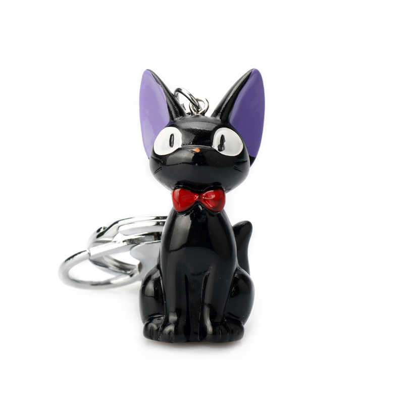 Kiki's Delivery Service Black Resin Toy Kawaii Cute Black Cat Kiki Stuffed Toy Keychain Bag Pendant Keyring for Gift Women Girl