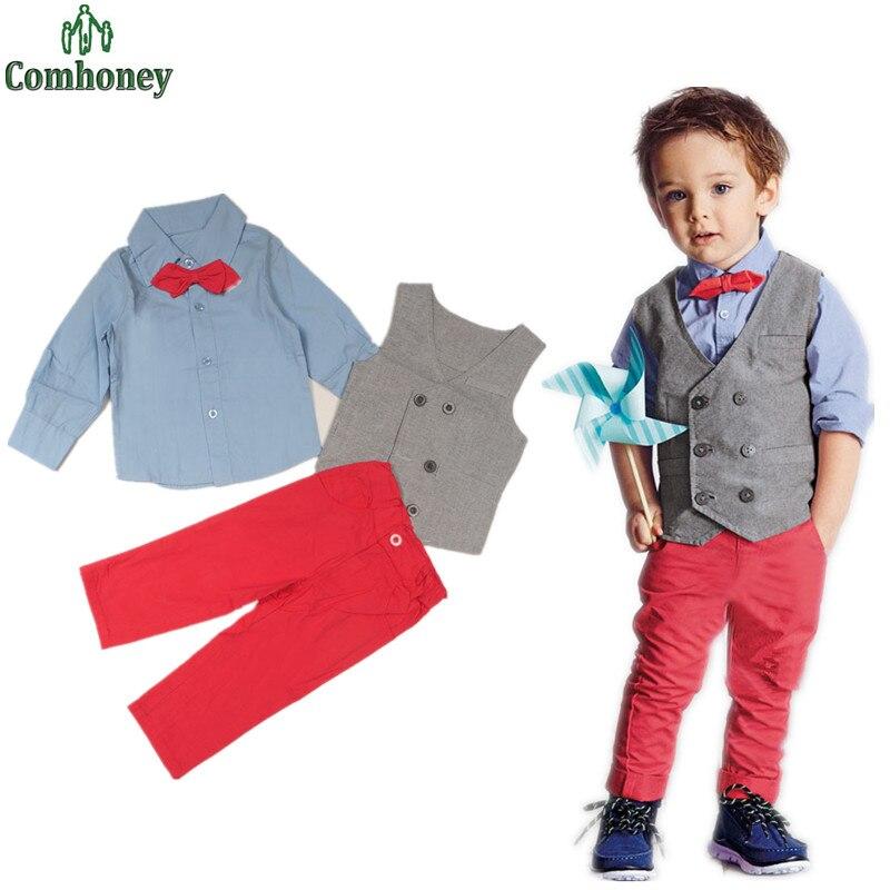 toddler boys formal suit set kids vesttie shirtpants clothing set children wedding