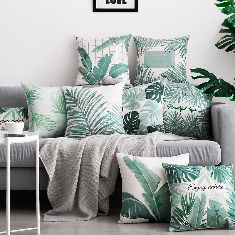 Fine Hyha Tropical Plants Palm Leaf Cushion Cover Green Leaves Monstera Home Decor Pillow Case Cojines Decorativos Para Sofa Pillow Ocoug Best Dining Table And Chair Ideas Images Ocougorg