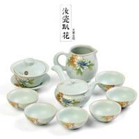 Japanese Kung Fu tea sets household ceramics Ru kiln teapot whole set gift boxes High grade Ru porcelain