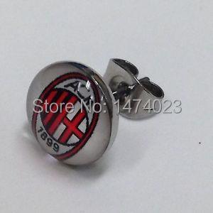 Wholesale mix logo AC Milan Soccer Club Logo Ear Studs, accept OEM of clients design logo Ear Rings earrings ear stud 60pcs/lot