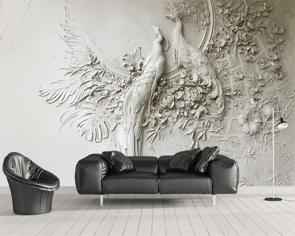 Beibehang papel de parede personalizado 3d tridimensional em relevo pavão tv sofá fundo da sala estar quarto mural 3d
