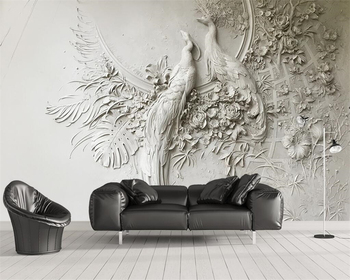 Beibehang Custom wallpaper 3D three-dimensional embossed peacock TV couch background wall living room bedroom mural 3d wallpaper beibehang fine pressure continental garden 3d three dimensional non woven wallpaper warm bedroom living room full shop