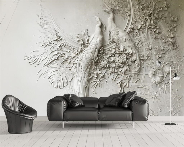 Beibehang Custom wallpaper 3D three-dimensional embossed peacock TV couch background wall living room bedroom mural 3d wallpaper