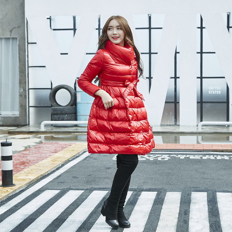 Flower Maternity Long Jacket 90% White Duck Down Coat Winter Mother Cotton-padded Loose Dress Coats Jackets Parka Cheap Price linenall women parkas loose medium long slanting lapel wadded jacket outerwear female plus size vintage cotton padded jacket ym
