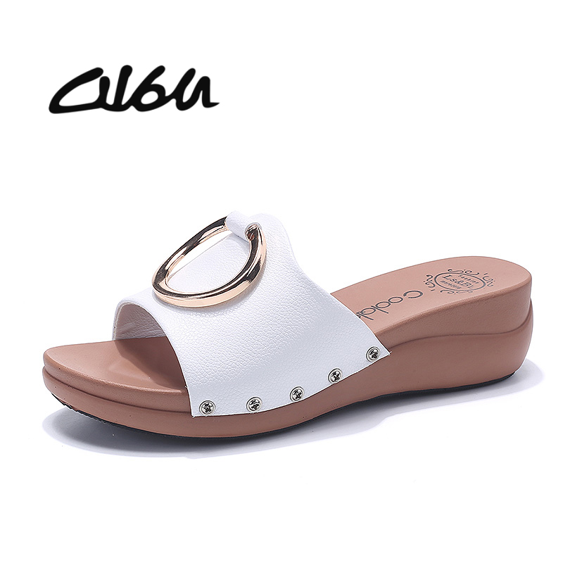 O16U 2018 Summer Women Slippers flat sandals shoes Beach flip flops Women Leather slides Peep Toe Wedge Mules Ladies flipflops