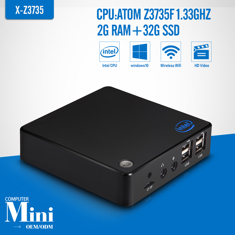 Fanless Mini PC Quad Core Z3735F 32gb HDMI VGA LAN WIFI Personal Computer Desktop Z3735f In Mini Pcs Laptop Computer