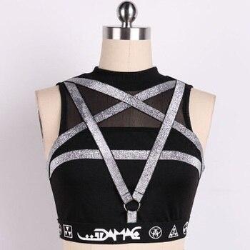 Punk Pentagram Straps Women Tank Black Top