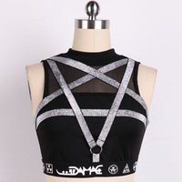 Punk Pentagram Straps Women Tanks Black Women Sexy Tops Sleeveless Gothic Casual Tank Tops