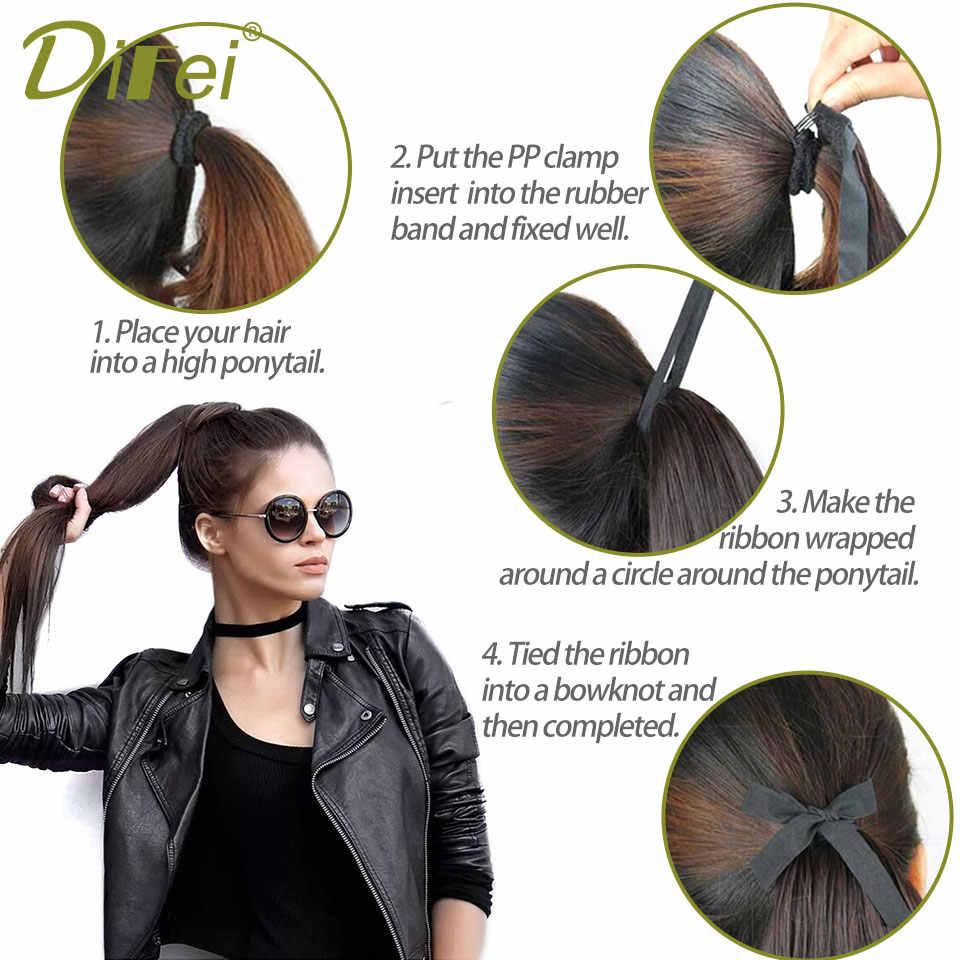 Pinza recta larga de DIFEI en la cola de la extensión del pelo Pelo falso con cola de Pony de fibra sintética de alta temperatura