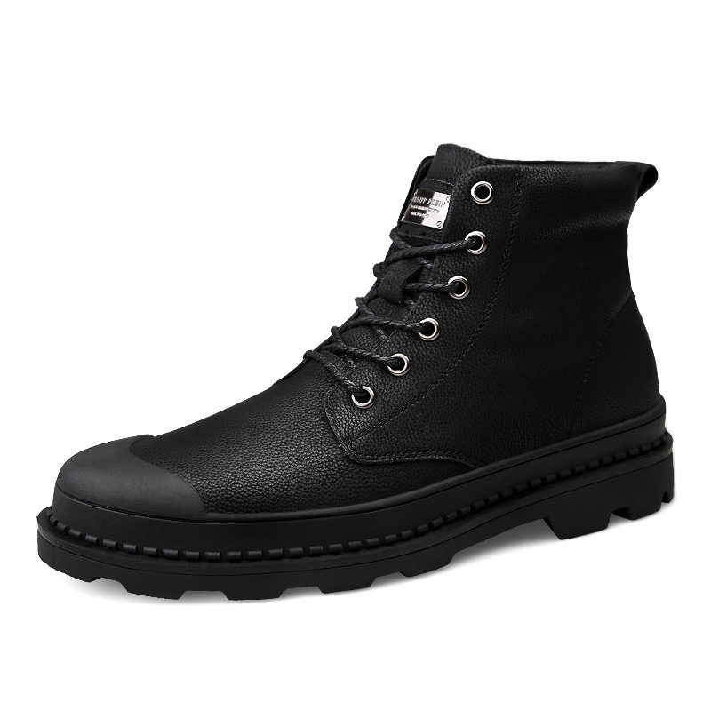 Fashion Men Ankle Boots Winter Waterproof Motorcycle Outdoor Boots  Men's Autumn Boots Snow Male Oxfords Keep Warm Shoes 2019