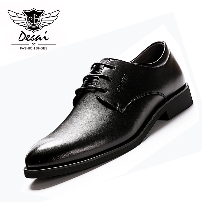 2018 Summer New Mens Genuine Leather Business Dress Shoes Mens Causal Increased High Pointed Toe Black Shoes for Men