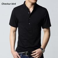 Plus Size Men Solid Black Mandarin Collar Summer T Shirt Short Sleeve Cotton Casual T Shirts5XL