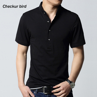 Plus Size Men Solid Black Mandarin Collar Summer T Shirt Short Sleeve Cotton Casual T Shirts5XL