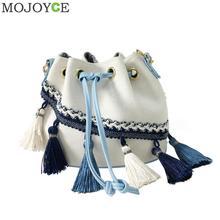 Этническая Для женщин кисточкой сумка-мешок моде длинные цепочки Crossbody мешок шнурок Сумки на плечо маленькая сумочка Винтаж Сумки На Плечо Лидер продаж