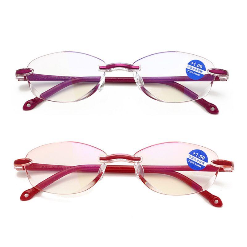 Ultralight Rimless Reading Glasses Clear Lens Unisex Anti-Blu-Ray Radiation Computer Presbyopia Readers 1.0 1.5 2.0 2.5 3.0 3.5
