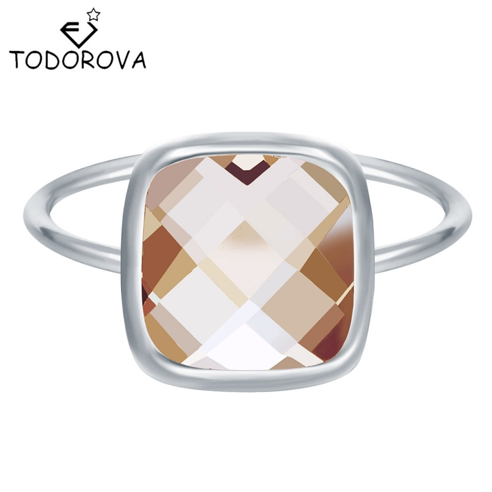Todorova Silver Rings For Women Big Square Crystal Jewelry Brilliant Wedding Band Engagement Ring Wholesale Girls