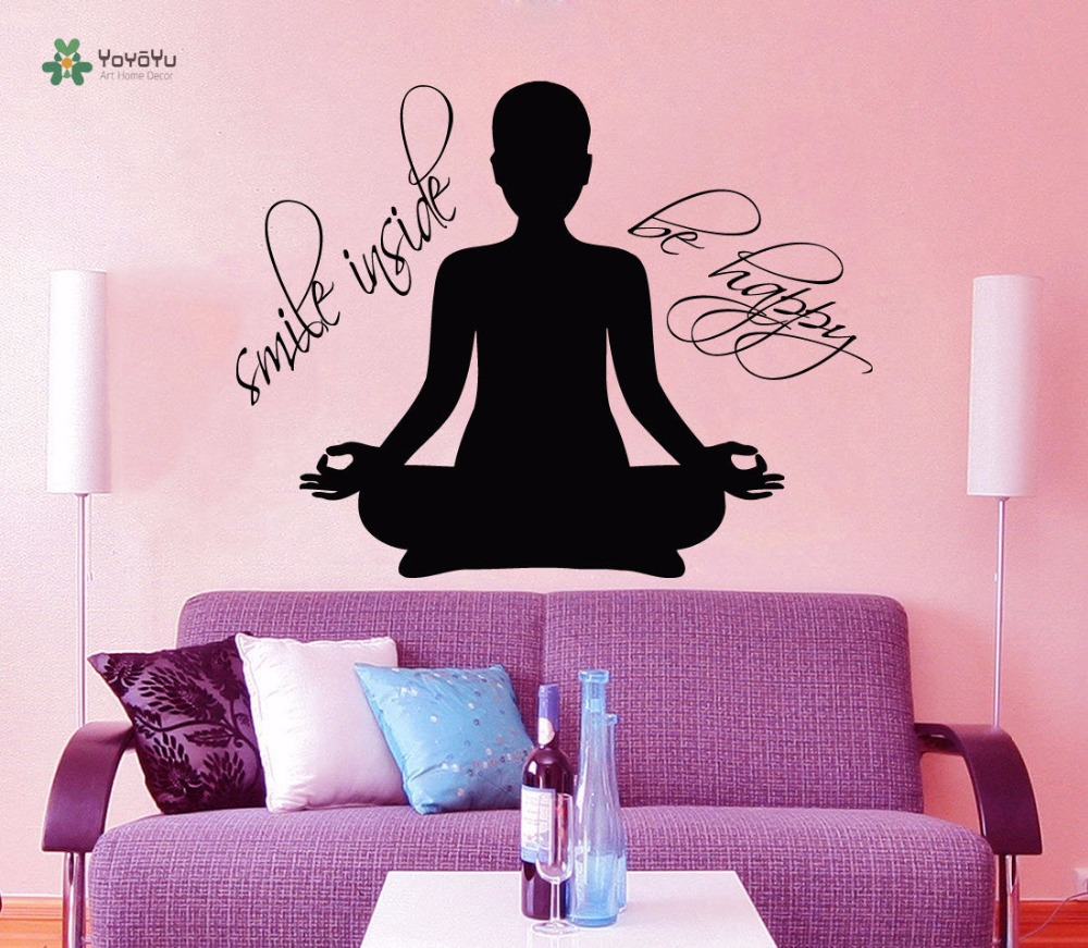 YOYOYU Wall Decal Women Sports Wall Vinyl Sticker Yoga Decal Quote Smile Inside Be Happy Art Wall Decoration Gym yo261 in Wall Stickers from Home Garden