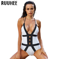 RUUHEE One Piece Swimsuit Swimwear Bodysuit Bikini Set Women Black White Bathing Suit Monokini Biquini Maillot