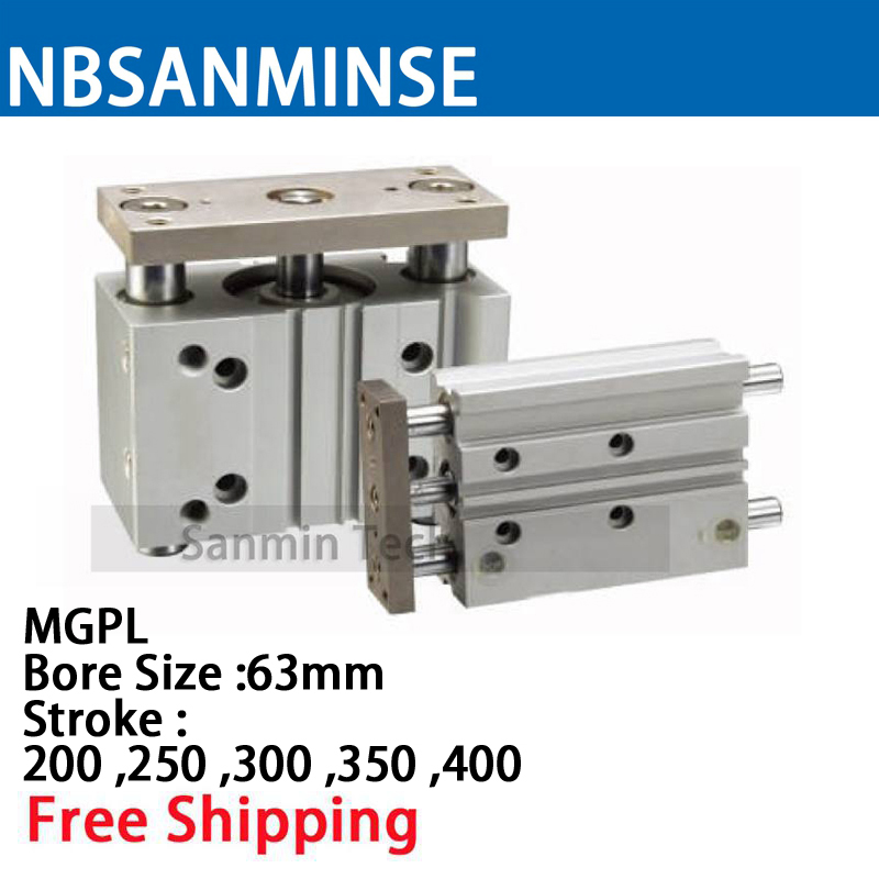 MGPL Bore Size 63 Compressed Air Cylinder SMC Type ISO Compact Cylinder Miniature Guide Rod Double Acting Pneumatic Sanmin mxj double acting pneumatic compressed air slide table cylinder compressor parts smc type cylinder sanmin