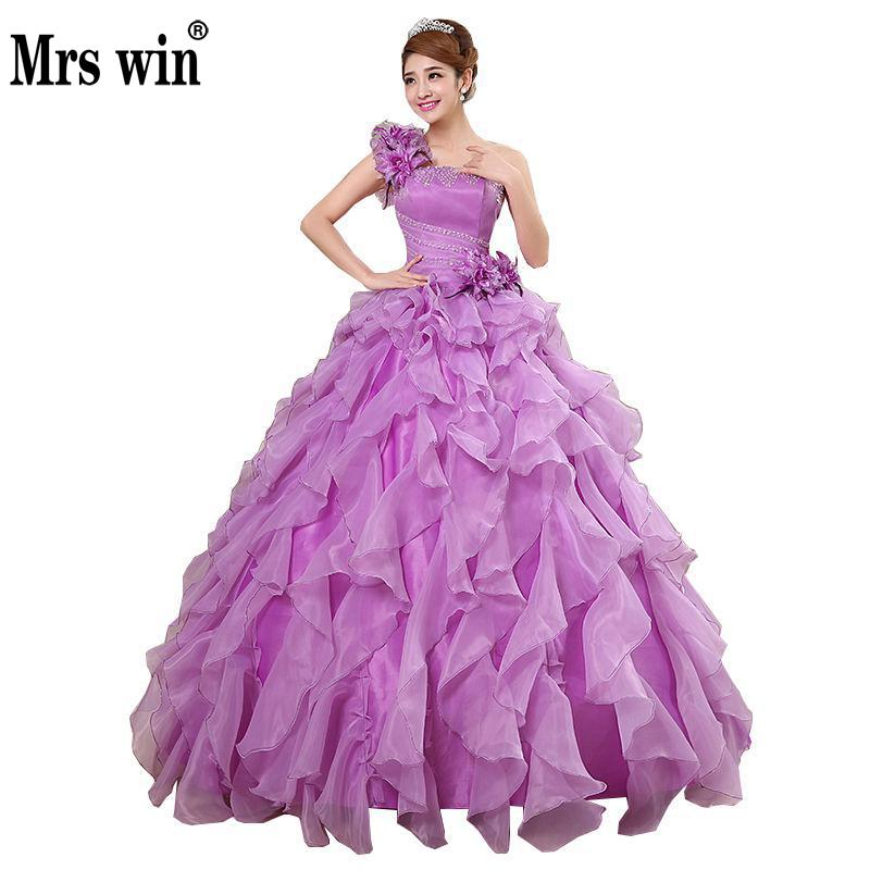 Quinceanera Dresses 2020 Mrs Win Sweet Flowers One-shoulder Crystal Luxury Ball Gown Lace Party Prom Formal Gown Plus Szie